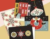 A retro holiday card set