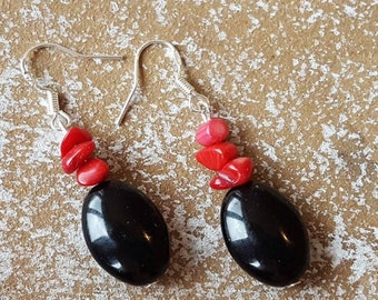Earrings coral red and onyx 925 Silver earrings coral red and onyx earrings