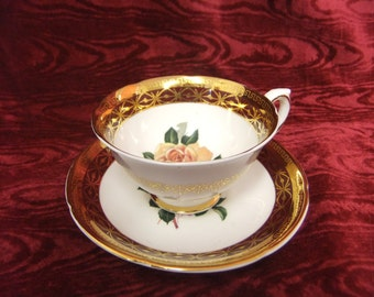 Pretty Royal Grafton Bone China Cup and Saucer Rose Design