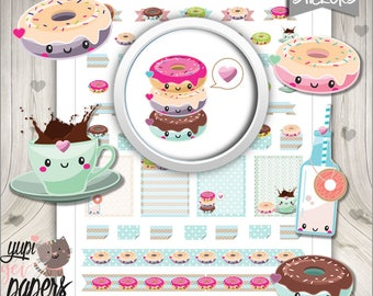 50%OFF - Donut Stickers, Planner Stickers, Printable Planner Stickers, Doughnut Stickers, Planner Accessories, Coffee Stickers