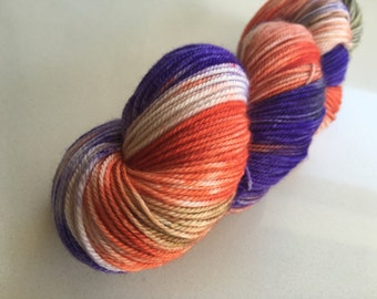 Hand Dyed Variegated Superwash  MCN 4ply sock yarn.