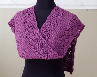 Lace Knit Scarf, Luxury Shawlette, Purple, Hand knitted, Handmade, Gift for Her, Any Occasion, Australian Merino Bamboo, Bohemian Style