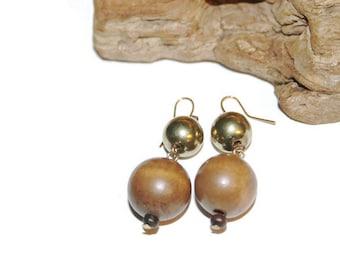 Metal and Wood Earrings, Beaded Earrings, Wood Jewelry, Wooden Earrings, Bohemian Jewelry, Boho Chic, Boho Jewelry, Natural Jewelry