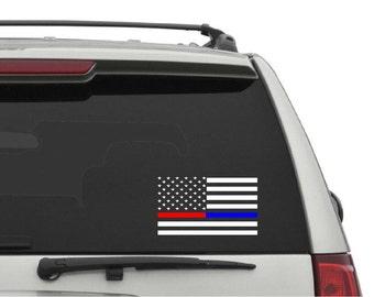 Red line-Blue line American Flag window sticker