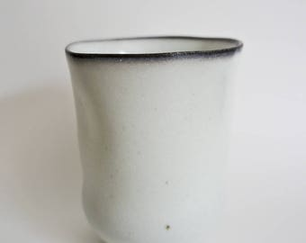 white/mint porcelain handleless cup