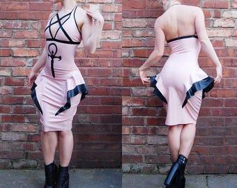 Vampiric Ankh Latex Dress - Size 8-10