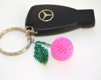 Car accessories Thank You gift Pink keychain Cherry keychain Fruit charms Beaded keychain Handmade keychain Small keychain delicate