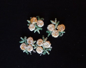 Appliques of Four Tiny Yellow Bouquets from the 60's Sew On Crafts