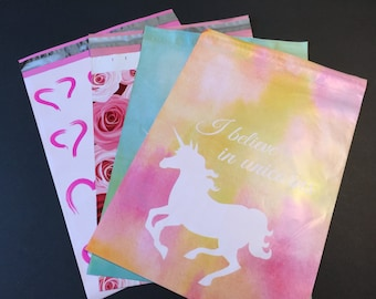 100  10x13 VALENTINE and UNICORN Assortment Hearts Roses Poly Mailers Self Sealing Envelopes 25 Each