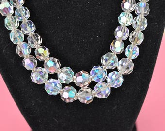 Double Strand AB Necklace, Faceted Crystal Bead Choker, Aurora Borealis Necklace, Crystal Beads, Bridal Necklace, Iridescent Necklace, DB49