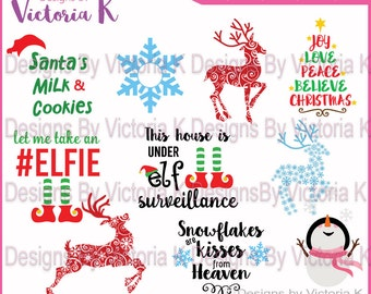 40 designs, Elf svg, Reindeer svg, Sowman svg, Christmas svg, Santa Sack svg, SVG, DXF, PNG, Files, Cricut Design Space, Vinyl Cut Files