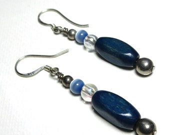 Wood Dangle Earrings - Blue