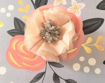 Small Peach Flower Brooch with Bead Cluster
