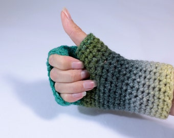 Fingerless crochet gloves, arm warmers, wrist warmers, in green, yellow and grey.