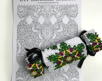 DIY Christmas Crackers - Set of 8 Christmas Cracker templates to print and color! - Printable PDF Download - Xmas coloring pages