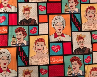 Vintage retro style I love Lucy fabric, Lucy fabric, 50's style fabric, Lucille Ball fabric, retro style, vintage style, TV, Hollywood