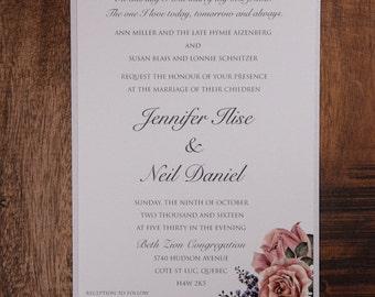 Rose Wedding Invitation, Rose Invitation, Rose Wedding Invitations, Rose Invitations, Blush flowers Wedding Invitation, Floral Invitation