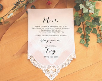 Mother of the Groom handkerchief, custom PRINTED wedding Handkerchief, Mother of the Groom Gift from Groom,Personalized-LS11PadCop