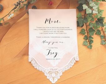 Mother of the Groom handkerchief, custom PRINTED wedding Handkerchief, Mother of the Groom Gift from Groom,Personalized-LS11PadCop