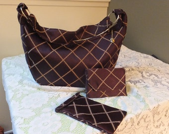 Chocolate Brown Silky Tapestry Shoulder Bag with Wallet and Cell/Tablet Protect Purse size Large