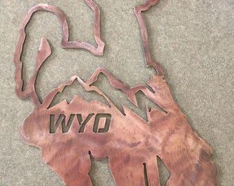 Wyoming Cowboy Metal Wall Art