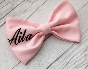 Embroidered Hair Bow