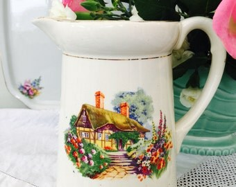 Beautiful Country Cottage Vintage Falcon Ware  Large Pitcher/Jug/Water Jug