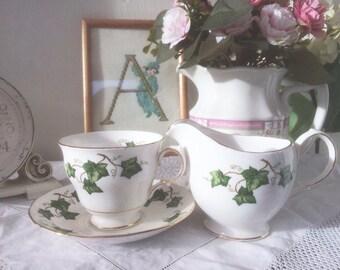 Charming 1950s Vintage Colclough Ivy Teacup, Saucer & Creamer