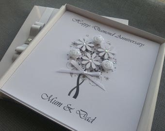 Ruby Diamond Sapphire Golden 15th 40th Wedding Anniversary Congratulations Card Handmade Personalised Parents Grandparents Friends Box