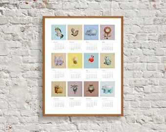2017 Printable Calendar, Animal Art, 2017 Animal Calendar, Nursery Animal Calendar, Nursery Printable, 2017 Wall Calendar, Download Calendar