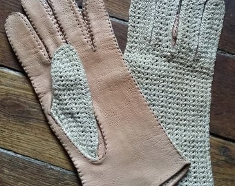 Woman leather and crochet/Vintage driving gloves