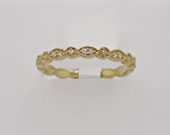 14K Yellow Gold Diamond Pave Band