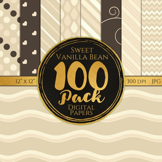 Digital Paper 100 Pack - Sweet Vanilla Bean - Commercial Use