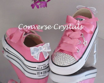 Infant Toes and Bows Custom Crystal *Bling* Converse. All Colours. Many Crystal / Bow / Ribbon Options. Sizes 2-10