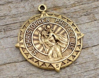 St. Christopher, Catholic Medal, Antique Gold Pendant, Medallion, Religious Charm, Compass, Saint, Religious, Protect Us, Rosary, Key Chain