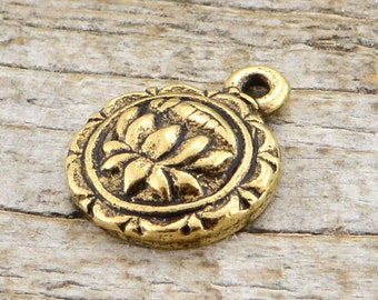 2 Lotus Charm, Lotus, Flower Charm, Gold Lotus, Gold Charm, Antiqued Gold Charm, Lotus Pendant