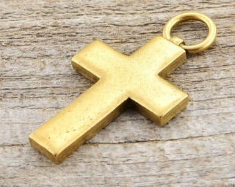 Cross Pendant, Large Cross, Gold Cross, Religious Cross, Antiqued Gold Cross, Decorative Cross, Cross Charm