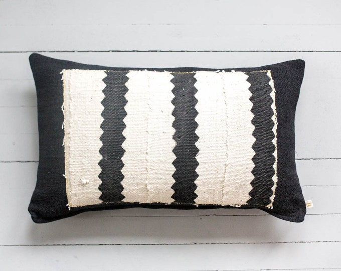 "Little Abena: African Mud Cloth lumbar pillow 12"" x 20"""