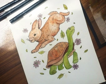 Tortoise and Hare Art Print Illustration