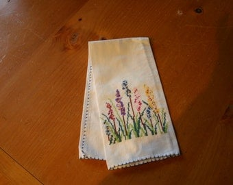 Pretty Hand Cross Stitched Linen Finger Tip Towel