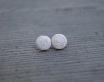 White ceramic round stud earrings, Ceramic stud, White stud, white earrings, ceramic earrings, surgical steel posts, one of a kind,