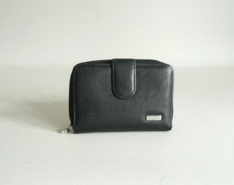 Womens Small Black Leather Wallet