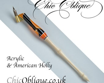 Oblique Pen Holder, Orange and black Acrylic Body with an American Holly tail.