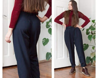 Vintage 80s High Waisted Pants Navy Blue Baggy Pants High Rise Dark Blue Trousers Slouchy Mom Pants W29 Small Pleated Slacks Tapered Pants S