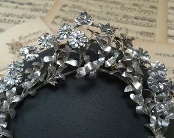 wedding paper crown, silver bridal tiara, vintage, from the 1930s, German wedding hair accessory, paper hair oared, boho headpiece
