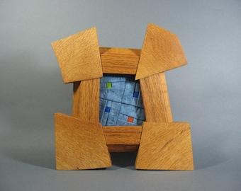 Miniature Art Quilt in Oak Frame by pam beal & wayne walma