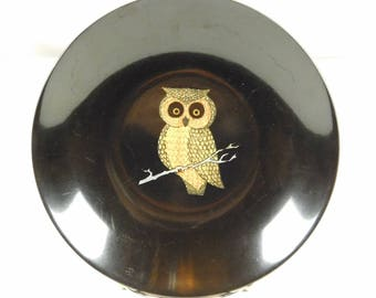 Mid Century Retro 1960s Couroc of Monterey Shallow Bowl Wood Inlaid Owl Bird Nature Black 8 Inches Wide Salad Bowl Decor Display