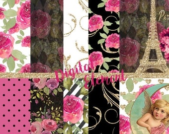 ON SALE Digital Floral Paris Paper, Pink Paris Paper, Scrapbook Paper, Printable Paris Vinatage, Paris Background Paper. No. P173