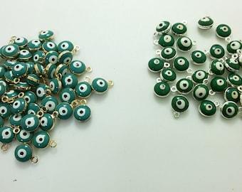 6 mm  Double Sided  Evil Eye Charms , Evil Eye  Jewelry , Turkish Eye ,  Eye Connectors , Evil Eye Eye , Findings , Supplies