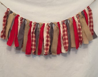 Plaid Christmas Garland/Red Plaid Garland/Flannel Garland/Plaid Fabric Banner/Rustic Christmas Garland/Rustic Burlap Garland/Plaid Garland